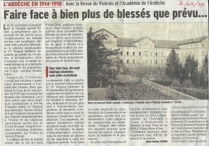 Article du Dauphiné Libéré du 21/08/2014 autour des blessés en Ardèche