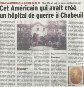Article du Dauphiné Libéré autour de l'hôpital de Bérenger à Chabeuil