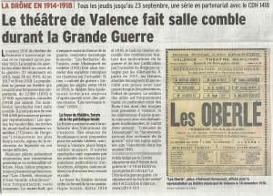 le théâtre de Valence pendant la grande guerre